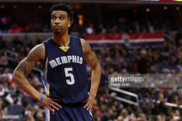 Courtney Lee of the Memphis Grizzlies looks on against the Washington Wizards in the second half at Verizon Center on December 23 2015 in Washington...