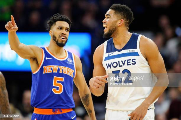 Courtney Lee of the New York Knicks and KarlAnthony Towns of the Minnesota Timberwolves react to a call during the second quarter of the game on...