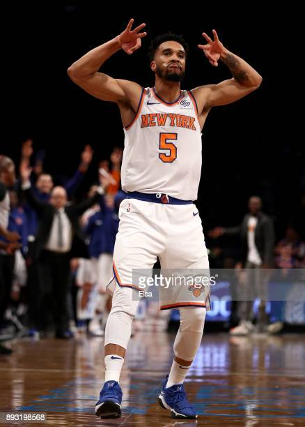 Courtney Lee of the New York Knicks celebrates his three point shot in the second half against the Brooklyn Nets at the Barclays Center on December...