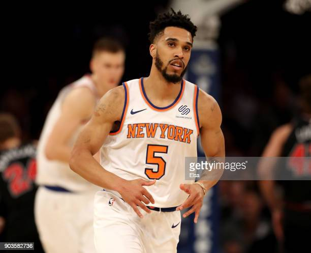 Courtney Lee of the New York Knicks celebrates his three point shot in the first half against the Chicago Bulls at Madison Square Garden on January...