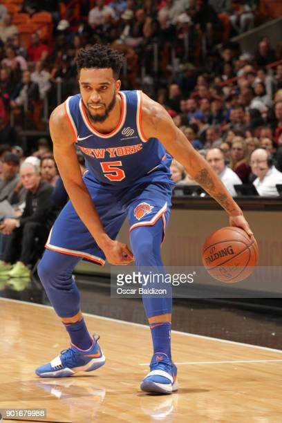 Courtney Lee of the New York Knicks dribbles the ball during the game against the Miami Heat on January 5 2017 at American Airlines Arena in Miami...