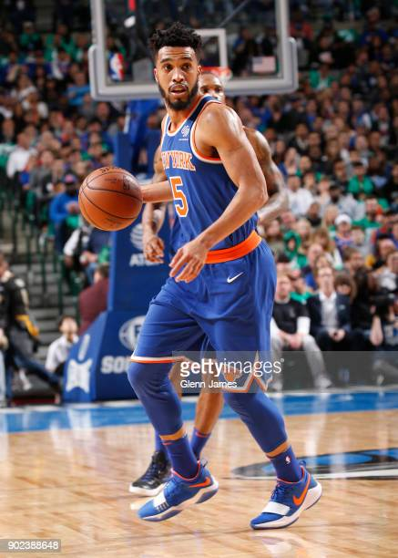 Courtney Lee of the New York Knicks dribbles the ball during the game against the Dallas Mavericks on January 7 2018 at the American Airlines Center...