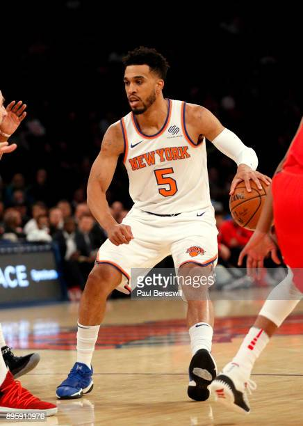 Courtney Lee of the New York Knicks dribbles the ball in a preseason NBA basketball game against the Washington Wizards on October 13 2017 at Madison...