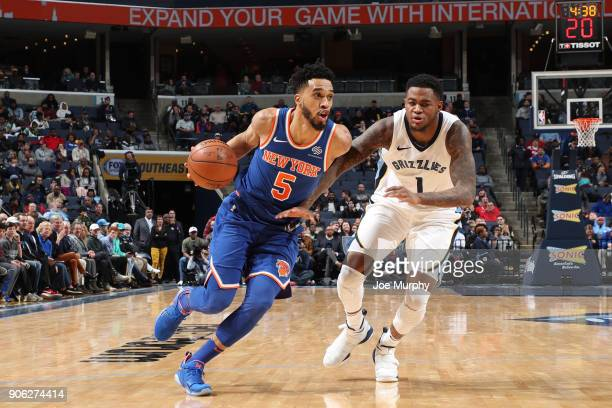Courtney Lee of the New York Knicks drives to the basket against Jarell Martin of the Memphis Grizzlies on January 17 2018 at FedExForum in Memphis...