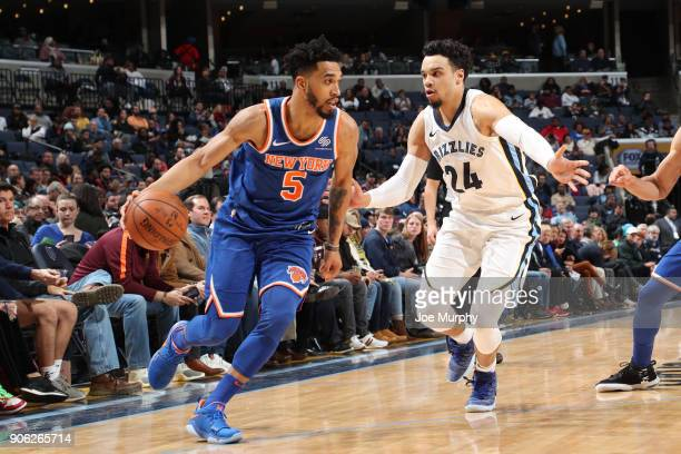 Courtney Lee of the New York Knicks handles the ball against Dillon Brooks of the Memphis Grizzlies on January 17 2018 at FedExForum in Memphis...