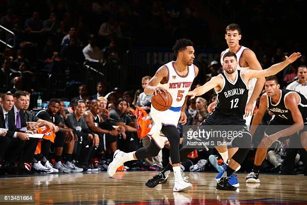 Courtney Lee of the New York Knicks handles the ball against the Brooklyn Nets at Madison Square Garden in New York City on OCTOBER 8 2016 NOTE TO...