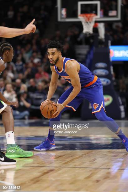 Courtney Lee of the New York Knicks handles the ball against the Minnesota Timberwolves on January 12 2018 at Target Center in Minneapolis Minnesota...
