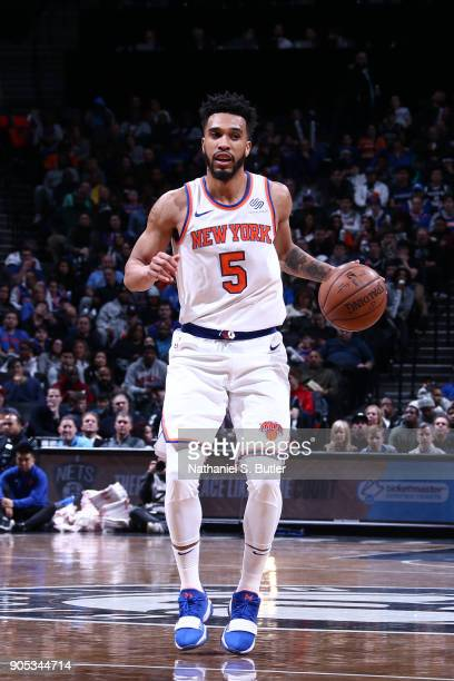 Courtney Lee of the New York Knicks handles the ball against the Brooklyn Nets on January 15 2018 at Barclays Center in Brooklyn New York NOTE TO...