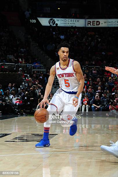 Courtney Lee of the New York Knicks handles the ball during a game against the Atlanta Hawks on January 29 2017 at Philips Arena in Atlanta Georgia...