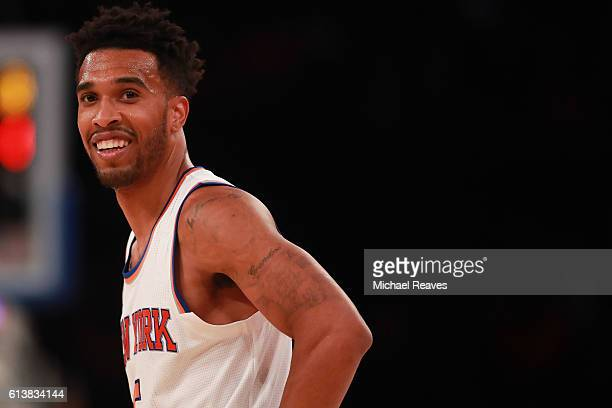 Courtney Lee of the New York Knicks looks on in the first half against the Washington Wizards during the preseason game at Madison Square Garden on...