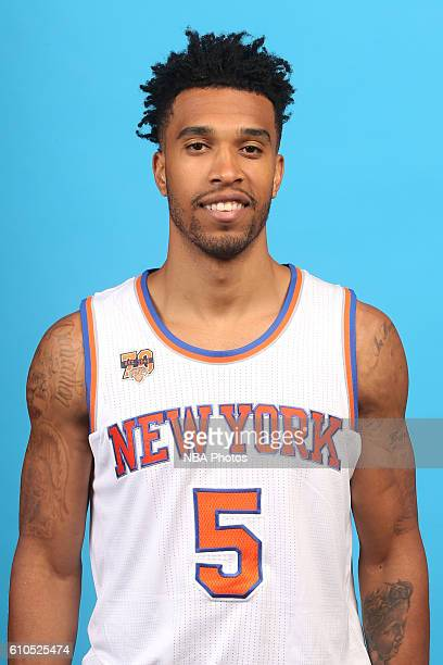 Courtney Lee of the New York Knicks poses for a head shot during media day at the Ritz Carlton in White Plains New York on September 26 2016 NOTE TO...