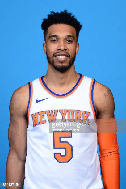 Courtney Lee of the New York Knicks poses for a portrait during 2017 Media Day on September 25 2017 at the New York Knicks Practice Facility in...
