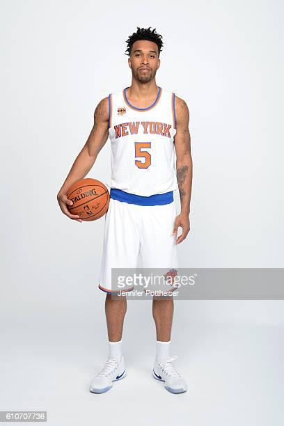Courtney Lee of the New York Knicks poses for a portrait during media day at the Ritz Carlton in White Plains New York on September 26 2016 NOTE TO...