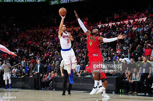 Courtney Lee of the New York Knicks shoots the ball against Paul Millsap of the Atlanta Hawks during a game on January 29 2017 at Philips Arena in...