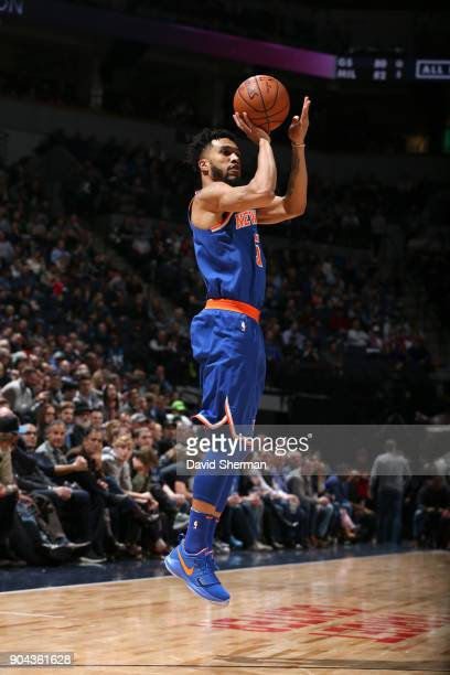 Courtney Lee of the New York Knicks shoots the ball against the Minnesota Timberwolves on January 12 2018 at Target Center in Minneapolis Minnesota...