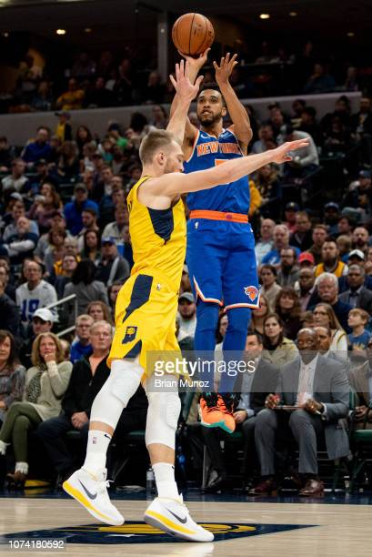 Courtney Lee of the New York Knicks shoots the ball during the first half of the game at Bankers Life Fieldhouse on December 16 2018 in Indianapolis...