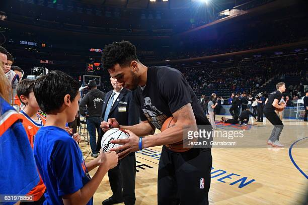 Courtney Lee of the New York Knicks signs autographs before the game against the Atlanta Hawks on January 16 2017 at Madison Square Garden in New...