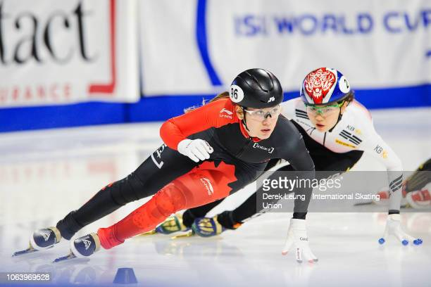 Courtney Lee Sarault of Canada skates during the ISU World Cup Short Track Calgary at the Olympic Oval on November 3 2018 in Calgary Alberta Canada...