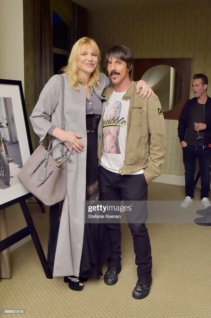Courtney Love (L) and Anthony Kiedis attend Diesel Presents Scott Lipps Photography Exhibition 'Rocks Not Dead' at Sunset Tower on June 28, 2018 in Los Angeles, California.