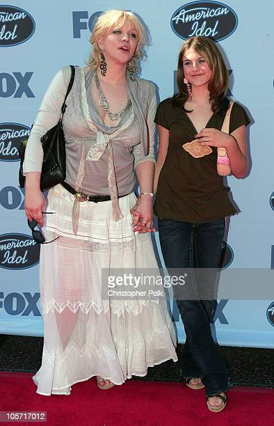 Courtney Love and daughter Frances Bean Cobain during 'American Idol' Season 4 Finale Arrivals at The Kodak Theatre in Hollywood California United...