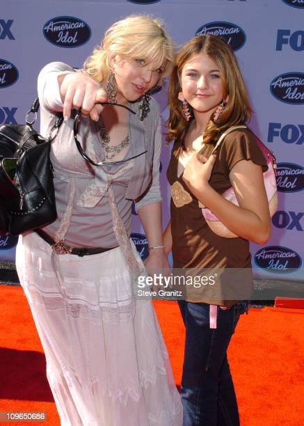 Courtney Love and daughter Frances Bean Cobain during 'American Idol' Season 4 Finale Arrivals at Kodak Theatre in Hollywood California United States
