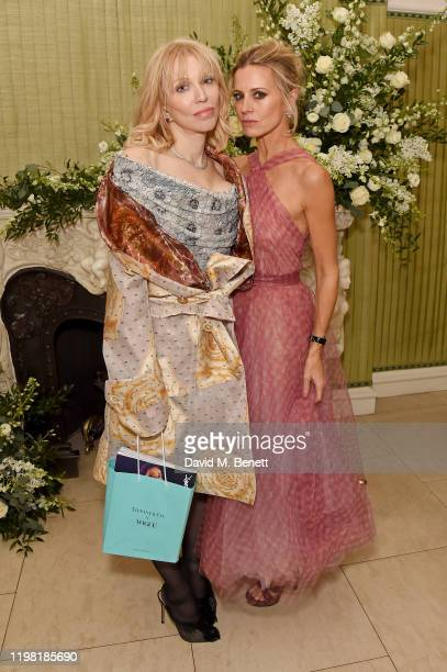 Courtney Love and Laura Bailey attend the British Vogue and Tiffany & Co. Fashion and Film Party at Annabel's on February 2, 2020 in London, England.