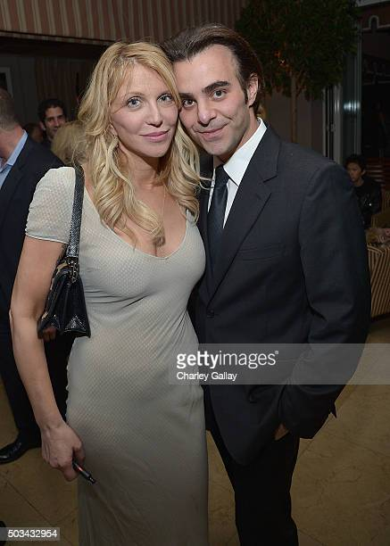 Courtney Love and Nicholas Jarecki attend THE HATEFUL EIGHT Celebration With Quentin Tarantino And Filmmakers at Sunset Tower Hotel on January 4 2016...