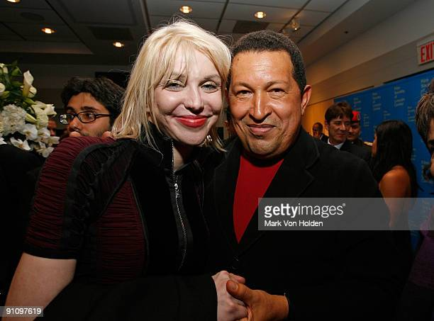 Courtney Love and President of Venezuela Hugo Chavez attend the after party for the 'South of the Border' premiere at the Walter Reade Theater on...