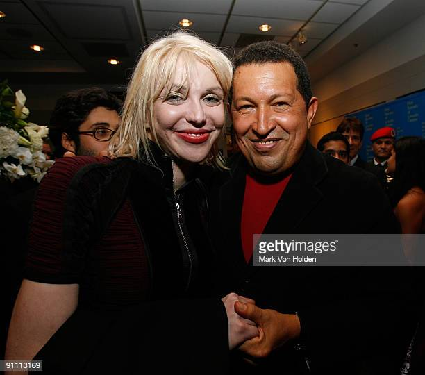 Courtney Love and President of Venezuela Hugo Chavez attend the after party for the South of the Border premiere at the Walter Reade Theater on...