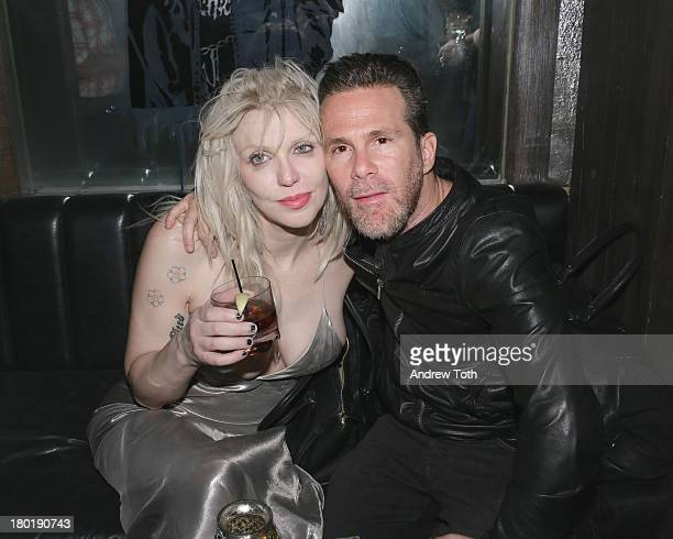 Courtney Love and Scott Lipps CEO of One Management attend the Popplicks Plus One Book Launch Event at The Gallery at The Dream Downtown Hotel on...