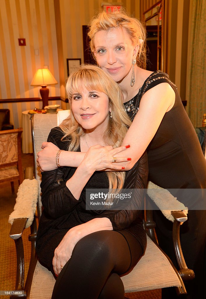 Courtney Love and Stevie Nicks backstage at the Elton John AIDS Foundation's 11th Annual An Enduring Vision Benefit at Cipriani Wall Street on October 15, 2012 in New York City.