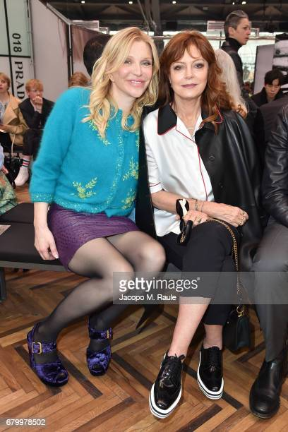 Courtney Love and Susan Sarandon while attending the Prada Resort 2018 Womenswear Show in Osservatorio on May 7 2017 in Milan Italy