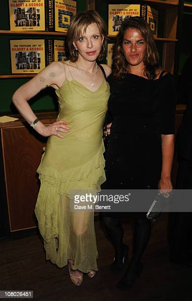 Courtney Love and Tracey Emin attend the dinner following the private view of 'The Urethra Postcard Art of Gilbert George' at QForum on January 13...