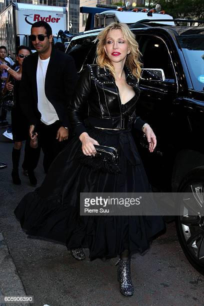 Courtney Love arrives the Marc Jacobs Spring 2017 fashion show during New York Fashion Week at the Hammerstein Ballroom on September 15, 2016 in New...