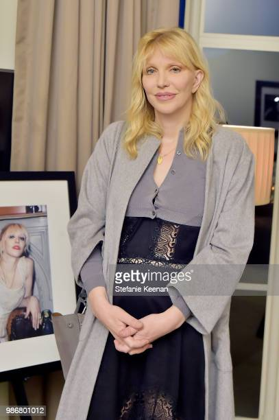Courtney Love attends Diesel Presents Scott Lipps Photography Exhibition 'Rocks Not Dead' at Sunset Tower on June 28 2018 in Los Angeles California