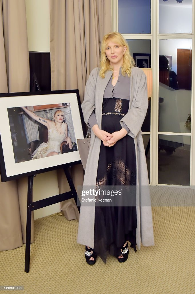 Courtney Love attends Diesel Presents Scott Lipps Photography Exhibition 'Rocks Not Dead' at Sunset Tower on June 28, 2018 in Los Angeles, California.