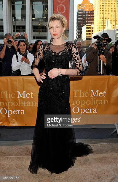 Courtney Love attends the 2012 Metropolitan Opera season opening night performance of L'Elisir D'Amore at The Metropolitan Opera House on September...