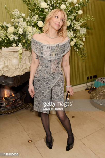 Courtney Love attends the British Vogue and Tiffany & Co. Fashion and Film Party at Annabel's on February 2, 2020 in London, England.