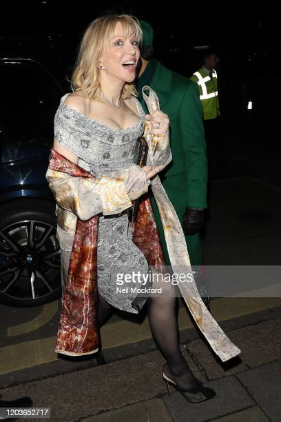 Courtney Love attends the Vogue x Tiffany Fashion & Film after party for the EE British Academy Film Awards 2020 at Annabel's on February 02, 2020 in...