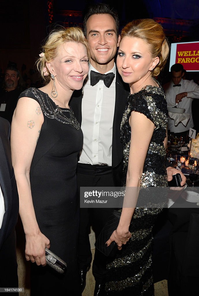 Courtney Love, Cheyenne Jackson and Nina Arianda attend the Elton John AIDS Foundation's 11th Annual An Enduring Vision Benefit at Cipriani Wall Street on October 15, 2012 in New York City.