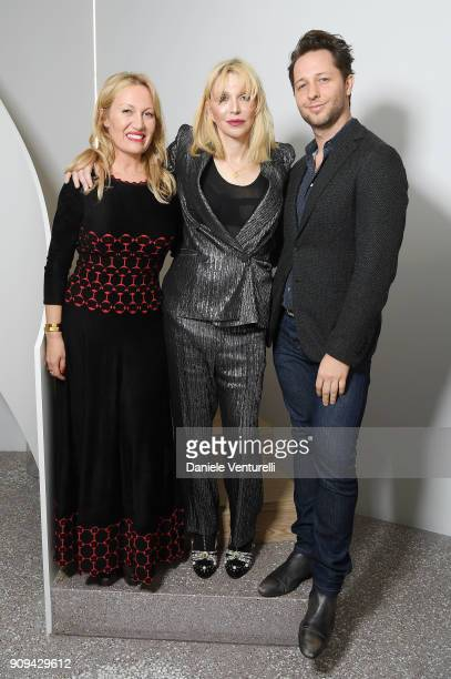 Courtney Love Diana WidmaierPicasso and Derek Blasberg attend Mene 24 Karat Jewelry Presentation at Gagosian Gallery on January 23 2018 in Paris...