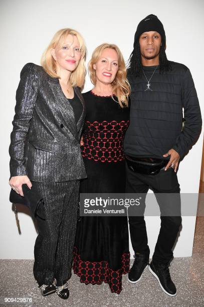 Courtney Love Diana WidmaierPicasso and Laurent Borgeois attend Mene 24 Karat Jewelry Presentation at Gagosian Gallery on January 23 2018 in Paris...