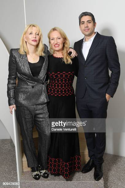 Courtney Love Diana WidmaierPicasso and Roy Sebag attend Mene 24 Karat Jewelry Presentation at Gagosian Gallery on January 23 2018 in Paris France