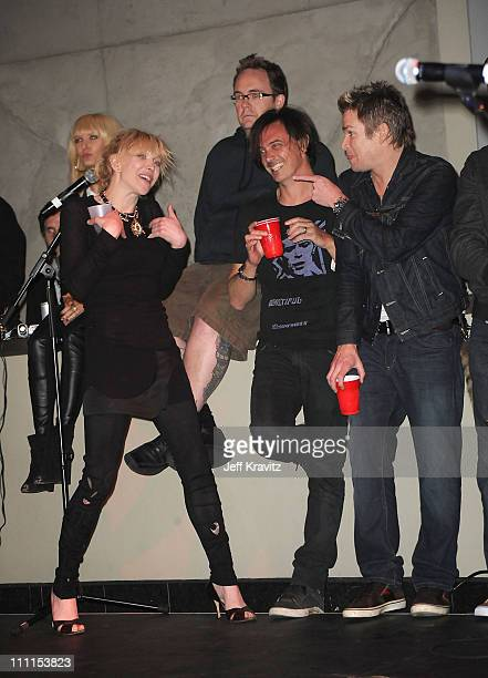Courtney Love, Donovan Leitch, and Mark McGrath backstage at Camp Freddy at Hollywood & Highland Courtyard on April 15, 2010 in Hollywood, California.