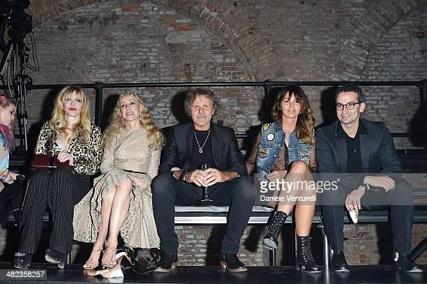 Courtney Love, Franca Sozzani, Renzo Rosso and Arianna Alessi attend Diesel FW14 Collection Presentation Show at Tese di San Cristoforo on April 3,...