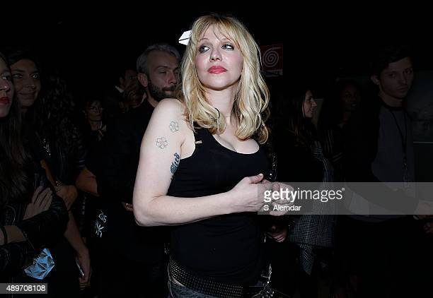 Courtney Love is seen backstage ahead of the Philipp Plein show during Milan Fashion Week Spring/Summer 2016 on September 23 2015 in Milan Italy
