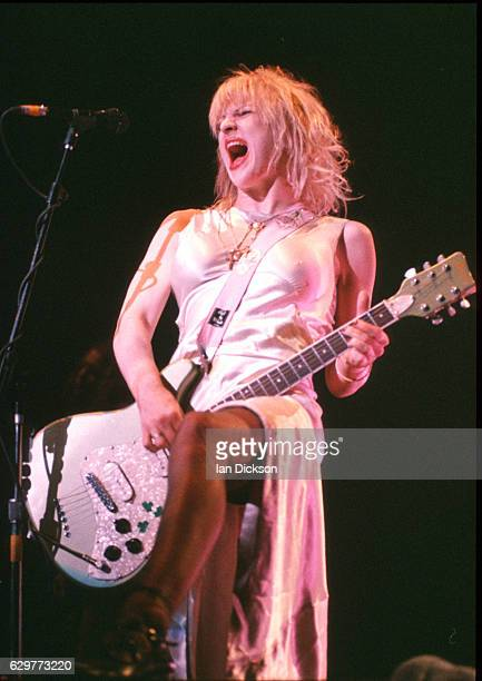 Courtney Love of Hole performing on stage at Brixton Academy, London, 04 May 1995.