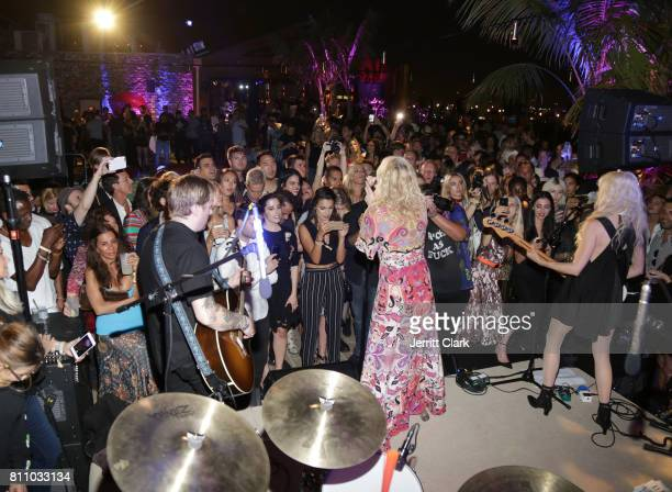 Courtney Love performs during Scott Lipps Unviels His New Company Lipps At The Highlight Room At DREAM Hollywood at DREAM Hollywood on July 8 2017 in...