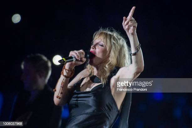 Courtney Love performs on stage at Rockin'1000 at Stadio Artemio Franchi on July 21 2018 in Florence Italy