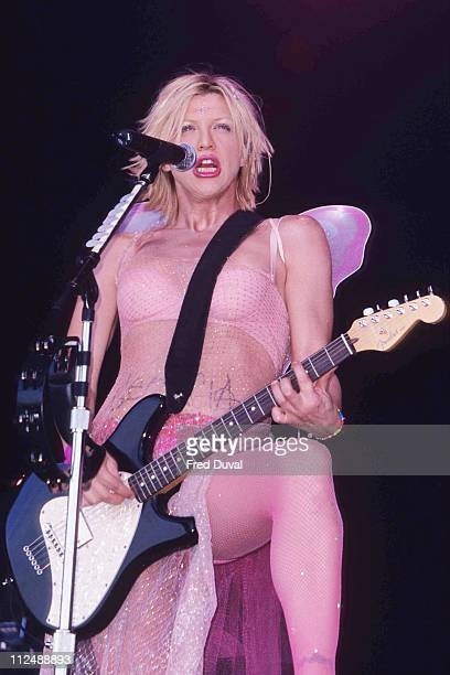 Courtney Love playing live in the band Hole during Glastonbury Festival 1999 at Glastonbury in Glastonbury Great Britain